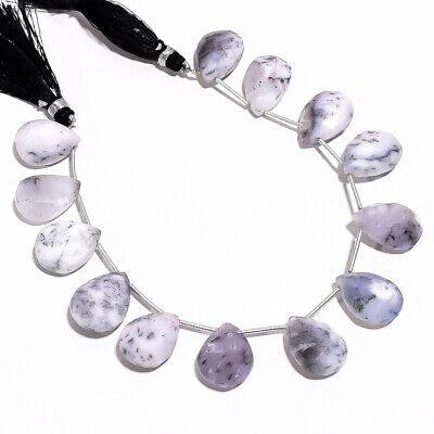 """151.5 Ct. Natural Dendrite Opal Gemstone Pear Faceted Beads String 8"""""""