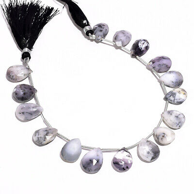 """122.35 Ct. Natural Dendrite Opal Gemstone Pear Faceted Beads String 8"""""""
