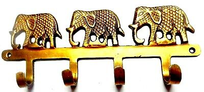 Three Elephant Brass Handcrafted Antique Style Clothes Towel Wall Hanger Hook