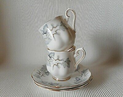 Two Royal Albert Silver Maple Coffee Cups & Saucers   Great Condition