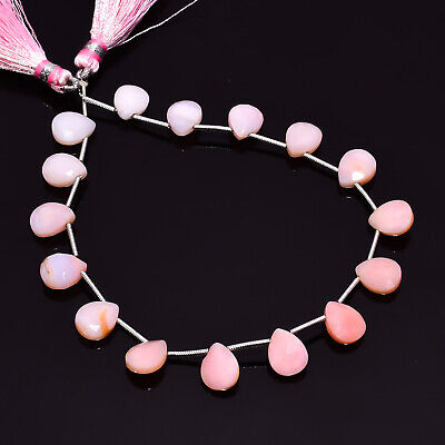 """39.6 Ct. Natural Pink Opal Gemstone Pear Faceted Beads String 8"""""""