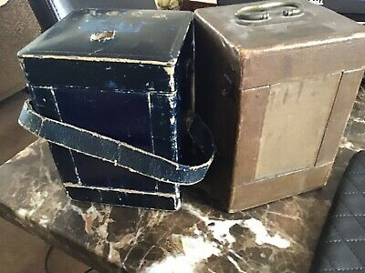 2 X Antique Victorian Leather Carridge Clock Carry Cases,beautiful & rare Items