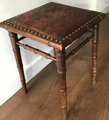 Antique, Arts & Crafts, Faux Bamboo, Floral Decorated Leather Top, Unique Stool.