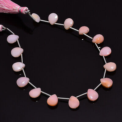 """40.55 Ct. Natural Pink Opal Gemstone Pear Faceted Beads String 8"""""""