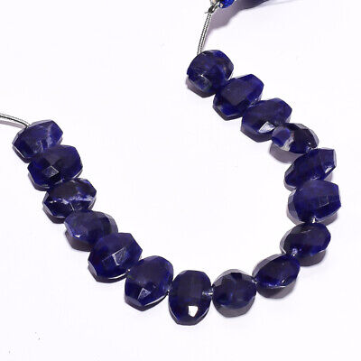 """64 Ct. Natural Sodalite Gemstone Oval Faceted Beads String 6"""""""