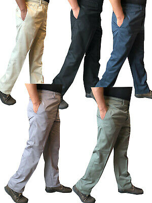 Mens Elasticated lightweight Chinos Cotton Rugby Trousers Casual Work Pants