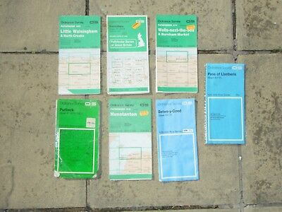 Old maps x 7 all ordnance survey from 1970 s and 1980 s including pathfinder