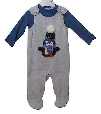 NEW Baby Boys F/&F 2-Piece Grey Red Dungarees Xmas Reindeer Outfit Set 0-3 Months