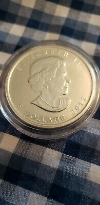 2012 $5 Canadian Maple Leaf 1 Troy oz .9999 Fine Silver In Coin Capsules
