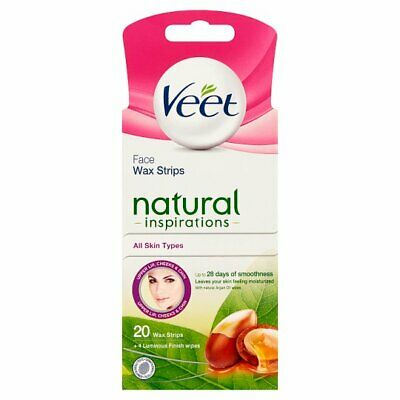 Veet Natural Inspirations Wax Strips 20+4 Wipes For Face Hair Removal Fast Post