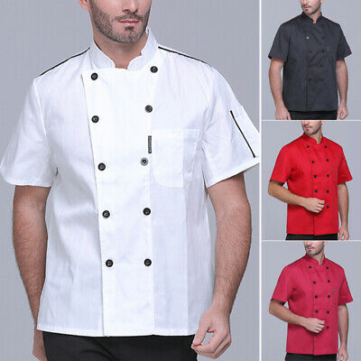 Mens Tops Shirts T-shirt Vest Tops Solid Chefs Shirts Cook Short Sleeve