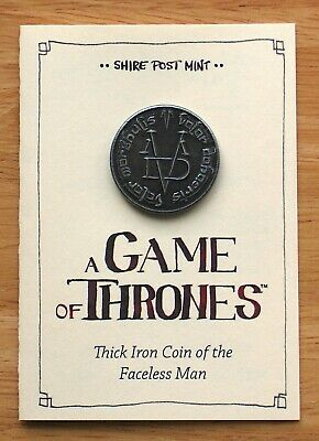 Faceless Man Thick Iron Coin (Game of Thrones) Fully Licensed by Shire Post Mint