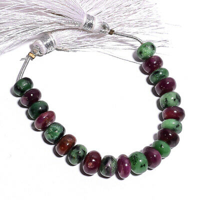 """60 Ct. Natural Ruby Zoisite Gemstone Rondelle Smooth Beads String 4"""""""