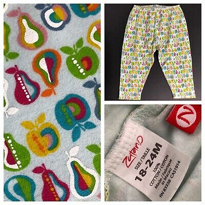 Zutano SIZE 18 24 Mo Month Baby Girl Pear Apple Comfy Cotton Knit Pants