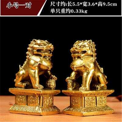 Pair Feng Shui Chinese Bronze Lion Statue Copper Evil Guardian Door Fu Foo Dog
