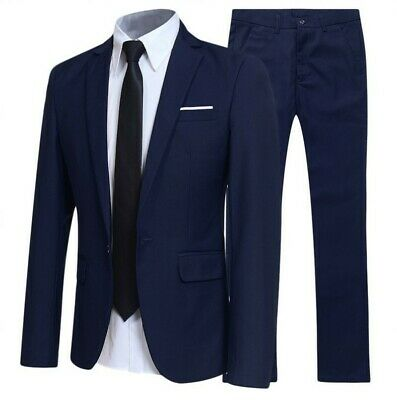 Mens Long sleeve Work Professional Slim suit Blazer jackets pants 2 piece Casual