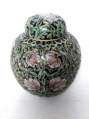 Antique Vintage Chinese Hand Painted Porcelain Famille Noir Ginger Jar Vase Pot