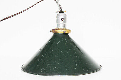 Vintage Green and Brass Metal Barn Light - Woods Wire Products Antique Lamp