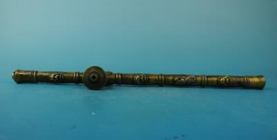chinese old copper carved lion head and Pi Xiu Smoking tool tobacco stems e01