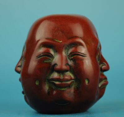 Chinese Wood Carving 4 Face Laugh Maitreya Buddha Head Statue a02