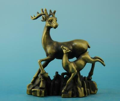 chinese old fengshui copper hand-carved mother and son deer zoology statue e01