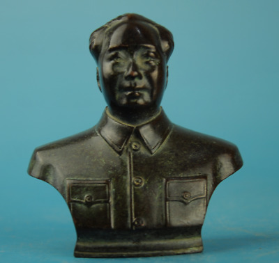 chinese old copper Hand carving China's leaders Mao Zedong statue  c01