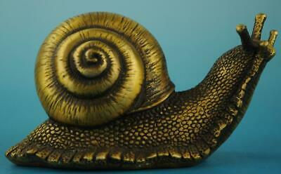 antique China old Dynasty Folk Copper Beautiful Lifelike snail Statue e01