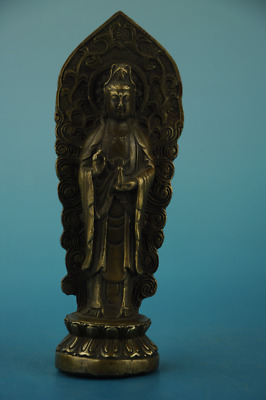 Chinese old Copper hand-carved  KWAN-YIN Buddha Statue /qianlong mark d01