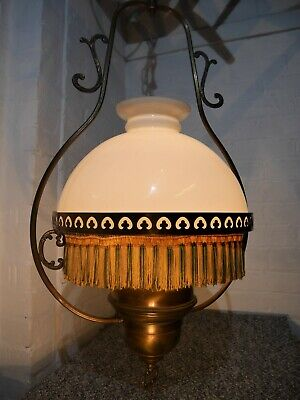 Antique Large Brass French Fringed Hanging Gas Lantern Converted to Electricity.