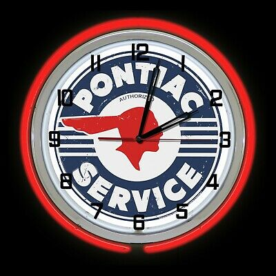 """19"""" Pontiac Service Distressed Sign Neon Clock Red Neon Chevy"""