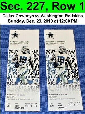 Two Dallas Cowboys vs Washington Redskins Tickets Sec. 227, Row 1, GREAT VIEW!