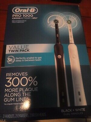 Oral-B Pro 1000 CrossAction Electric Toothbrush TWIN PACK Black & White New