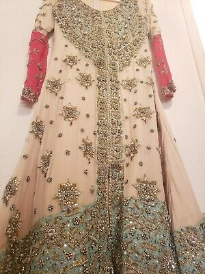 HSY replica Heavy Bridal WEDDING Wear Pakistani/Indian Dress Off-White 3 Piece