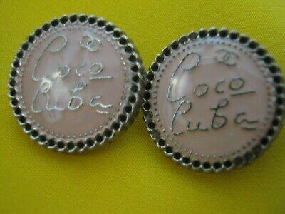 2 Chanel coco Cuba cc buttons pink  18mm lot of 2 good condition
