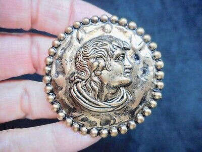 Authentic Vintage Antique Bronze Roman Coin Motif Brooch/Pin