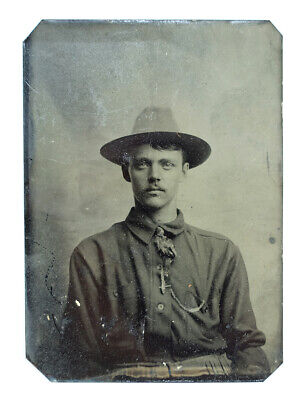 Spanish-American War Military U.S. Soldier Antique Tin Type Photograph 1800s