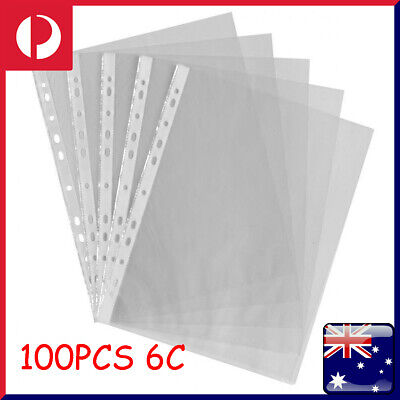 100Pcs Plastic Punch Punched Pockets Folders Filing Sleeves Office Supplies A4