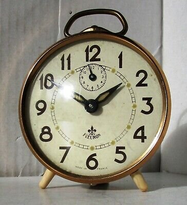 Lovely Vintage Cream and Bronze Alarm Clock from FLEURON