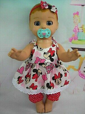 Dolls clothes for LUVABELLA DOLL~MINNIE MOUSE STRAP DRESS~BLOOMERS~HAIR BOW