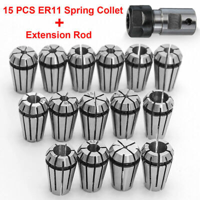 "15pcs/set ER11 Spring Collet 1-7mm 1/4"" 1/8"" + 1pcs ER11A 5mm Extension Rod Set"