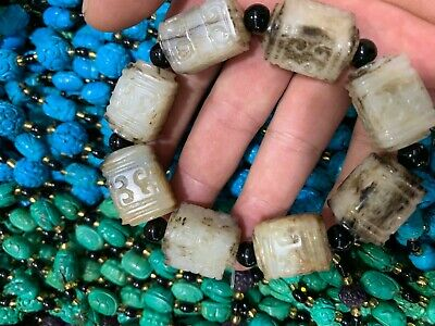 Antique China Natural hetian jade Carved Buddha bead amulet Bracelet hand chain