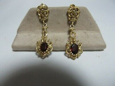 10K Solid Gold High Style Dangle Earrings With 1.20 Cts Tw Of Natural Garnets