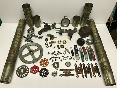 Vtg Lot STEAMPUNK Industrial METAL ART Pulley Valves FAUCETS KNOBS Funnel CRAFTS
