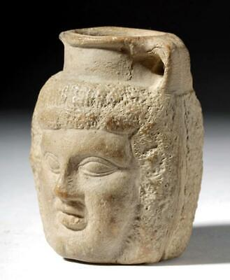 Egyptian ptolomeic Janus head jar poterry vessel 332 to 30 BCE with provenace.