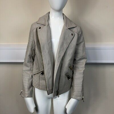 River Island Girls Beige Stone Faux Leather Biker Coat Jacket UK Age 8 Years