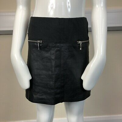 River Island Girls Black Faux Leather Panel Stretch Short Skirt UK Age 7 Years