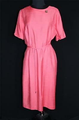 "Rare 1950'S Vintage Deadstock ""New Old"" Peach Pink Silk & Rayon Dress Size 14"