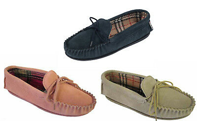 Womens Ladies Coolers Lodgemok Real Suede Leather Moccasin Slippers Sizes 4 - 8