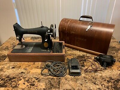 Vintage Singer Model AG108717 Sewing Machine Case with Attachments And Parts