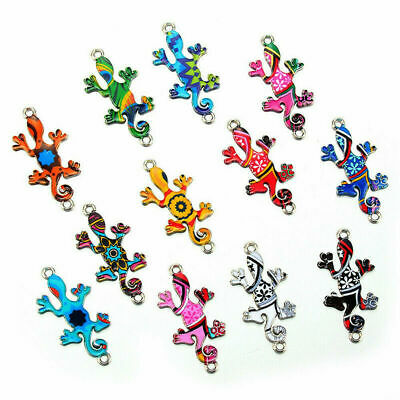 Wholesale 10Pc Mixed Gecko Beads Connector Charm Fit DIY Jewelry Making Findings